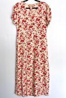 Vintage April Cornell Medium Rayon Floral Maxi Dress Long Pink India Women's