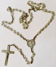 collier chapelet ancien perle nacré blanc médaille et croix gravé relief * 5080