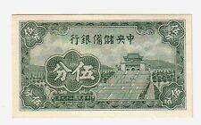 Cina  China Puppet Banks  5 fen  1938  FDS UNC   pick j2b   lotto  2029