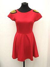 Short Rare London red studded-shoulder back-cutout dress size 10