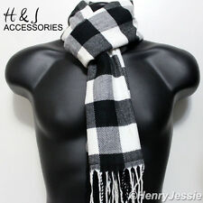 24b06ef34598 Black Gray White Checked Cashmere Feel Scarf 100%Acrylic For Unisex
