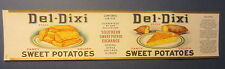 Old Vintage 1922 DEL-DIXI - Southern SWEET POTATO Exchange - CAN LABEL - Chicago