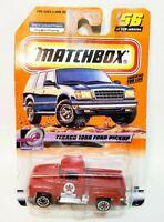 NIB 1999 MATCHBOX TEXACO 1956 RED FORD PICKUP TRUCK 1/64 DIE CAST LITE BOX WEAR