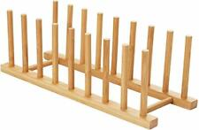 2pcs Bamboo Dish Plate Bowl Cup Book Pot Lid Cutting Board Drying Rack Stand