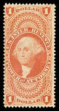 Scott R75c 1862 $1.00 Power of Atty. Fully Perforated Revenue Issue Unused Fine