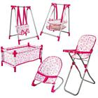 deAO Baby Doll Play Set with Bed, Bouncer, Adjustable Swing Seat & Accessories