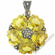 Sterling Silver Heart Yellow Topaz & Marcasite Flower Cluster Pendant w/ Chain