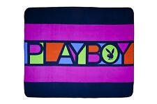 Licensed Playboy BLOCK Black Bunny Logo Polar Fleece Throw Rug Blanket