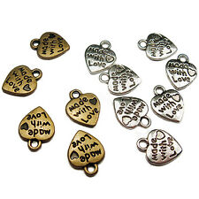 Wholesale 50X Silver/Gold Plated MADE WITH LOVE Heart Charms 0.35 Placid Goodly