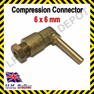 6x6mm L-piece Compression Connector copper pipe Joint Coupling Gas Water Lpg