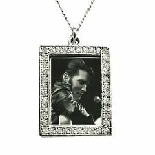 Elvis Photograph Pendant - Come Back Concert - Silver with Swarkovski Crystals
