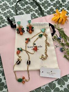 Kate Spade NY Fine Art Charm Long Necklace & Drop Earrings SET Genuine Stones