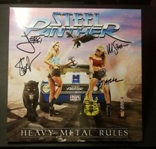 Steel Panther Heavy Metal Rules Autographed Blue Splatter Vinyl LP Limited OOP