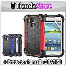 Funda Carcasa compatible GALAXY S3 MINI + PROTECTOR i8190 interior de goma