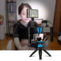 Smartphone Video Rig Stabilizer Grip Tripod Mount Holder with Mic For iphone 8 X
