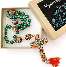 New Handmade Polymer Clay Anglican Prayer Rosary Beads Cross Religious Gift