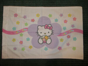 Vintage HELLO KITTY Floral 3pc TWIN Sheet Set (Pillow Case Flat & Fitted)