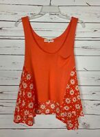 Altar'd State Women's XS Extra Small Orange Floral Cute Summer Top Tank Blouse