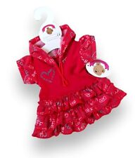 Teddy Bears Clothes fit Build a Bear-Red Hooded Dress 'BFF' Best Friends Forever