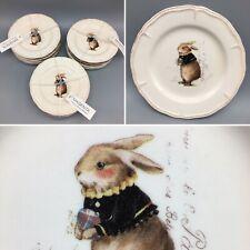 """12 Magenta VINTAGE SPRING 6"""" Appetizer Dessert Plate Set Easter Rabbit Bunny NEW"""