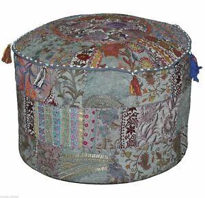 Indian Gray Patchwork Handmade Ottoman Floor Pouf Cover Cotton Vintage HomeDecor