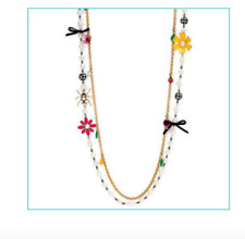 New Betsey Johnson Flower Girl Lady Bug Orange Pink Daisy Pearl Double Necklace