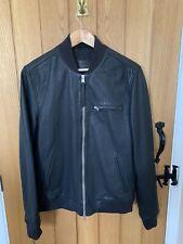 All Saints Leather Bomber Jacket Small Mens black