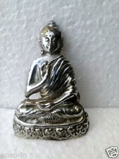 Old Silver Color Polished Brass Buddha Statue , Collectible