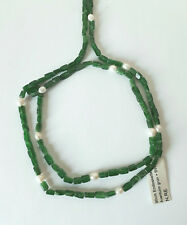 Halskette Quaderkette 4x7mm Aventurin grün mit Süßwasserperle   L = 90 cm