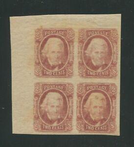 1863 Confederate States of America Stamp #8 Mint Hinged Original Gum Block of 4