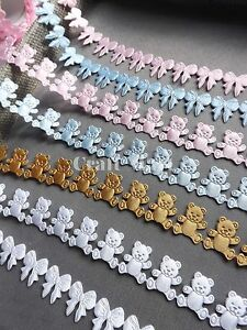 VINTAGE satin Teddy bear lace ribbon CRAFTS card gift Baby shower NEW- per Yard