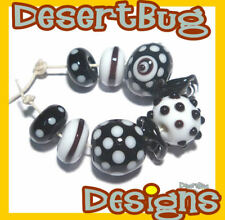 BLACK and WHITE COLLECTION Handmade Lampwork Beads  Polka Dot Contrast - 9 Beads