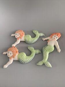X 3 Ceramic Bathing Seaside Nautical Wall Plaques Mermaids Very Good Condition!