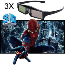 3x Universal Rechargable Active Shutter 3D Glasses Black for DLP-Link Projector
