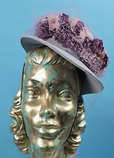 Vintage 1940'S Burnout Leaf Pattern Hat W Florals And Hair Netting