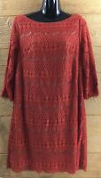 Grayson Women's Dress Size 14 Dark Orange Lace Shift 3/4 Sleeve Knee Length Knit