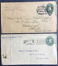 Two 1c Postal Stationary covers 1899-1904 WIS and KY to Netherlands