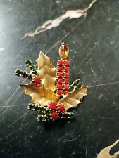 Vintage Gold Tone Rhinestone Christmas Candle Holly Leaf Holiday Pin Brooch GZ1