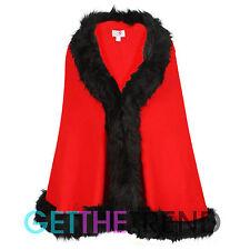 Girls Faux Fur Trim Knitted Cape Minx Girls Red Furry Trim Shawl Cape Blanket