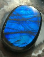 FLASHY ELECTRIC BLUE LABRADORITE 36mm 18.4g KEEPSAKE Pocket Stone CRYSTAL Reiki