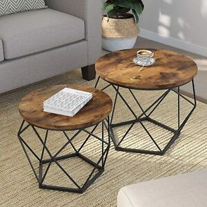 New Set of 2 Modern Steel & Rustic Farmhouse Industrial Living Room Tables