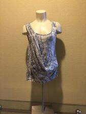 Anthropologie Gray Geometric Casual  Tank Top By Deletta Cotton Small