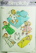 Vtg Simplicity 6907 Sewing Pattern Newborn Baby Layette Dress Bonnet Sleeper