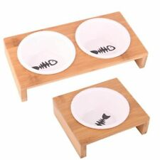 Pets Round Ceramics Feeding Bowl With Anti-skid Wooden Frame Foods Container New