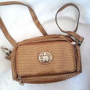 Kathy Van Zeeland Womens Pocketbook Brown Croco Embossed Small Organizer Bag