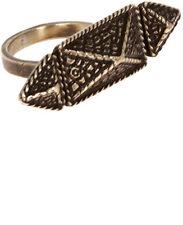 NEW $95 Vanessa Mooney Pyramid Ring in Vintage Brass sz 8