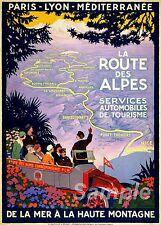 VINTAGE FRANCIA ROUTE DES ALPES viaggio A2 poster stampa