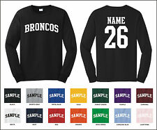 Broncos Custom Personalized Name & Number Long Sleeve Jersey T-shirt