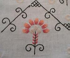 """Vintage Arts Crafts Era Embroidered Table Runner Pink Black on Linen 43"""""""