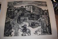 Albert DECARIS (1901-1988),Eau-forte : Le village EO, numérotée 2/100